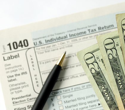 Income Tax Form and Money